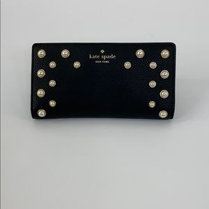 Kate Spade Black Stacy Serrano Place Pearl Wallet
